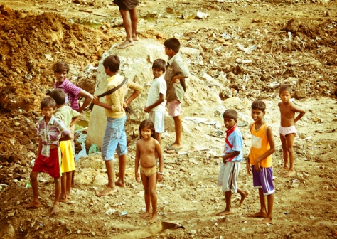 Kids playing in a slum in Chennai, India
