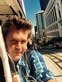 Riding the famous Cable Cars. San Francisco, California. USA