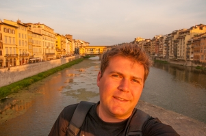 Florence sunset overlooking Il Ponte Vecchio, Florence, Italy.
