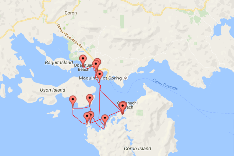 The route of our tour to Coron Island